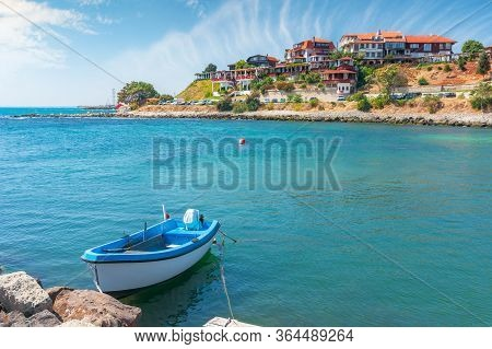 Boats In Harbor Of An Old Town. Popular Travel Destination. Wonderful Sunny Weather. Vintage Fisherm
