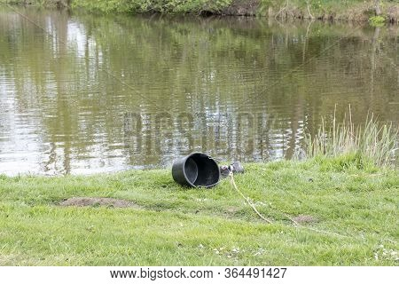 A Black Bucket On A Rope With Carelessly Thrown Shoes In The Back Near The Water, Fish Equipment.
