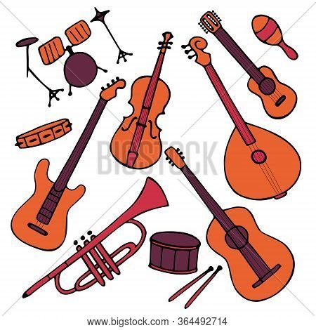 Hand-drawn Musical Instruments Set. Doodle Elements Guitar, Electric Guitar, Ukulele, Trumpet, Marac