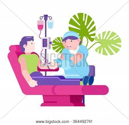 Charity Blood Donation, Doctor And Man Character In Hospital, Vector Illustration. Medical Health Ca