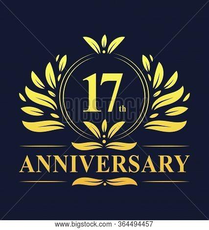 17th Anniversary Design, Luxurious Golden Color 17 Years Anniversary Logo Design Celebration.