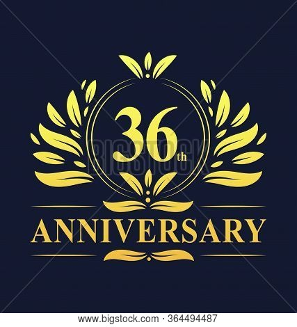 36th Anniversary Design, Luxurious Golden Color 36 Years Anniversary Logo Design Celebration. 36 Yea