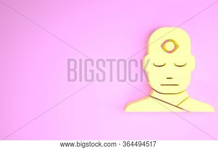 Yellow Man With Third Eye Icon Isolated On Pink Background. The Concept Of Meditation, Vision Of Ene