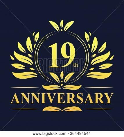 19th Anniversary Design, Luxurious Golden Color 19 Years Anniversary Logo Design Celebration.