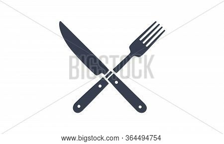 Set Of Restaurant Knife, Fork. Silhouette Two Resraraunt Tools, Knife, Fork. Logo Template For Food