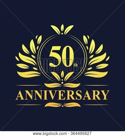 50th Anniversary Design, Luxurious Golden Color 50 Years Anniversary Logo Design Celebration.