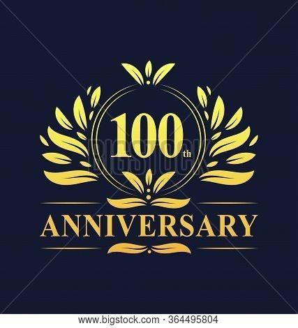 100th Anniversary Design, Luxurious Golden Color 100 Years Anniversary Logo Design Celebration.