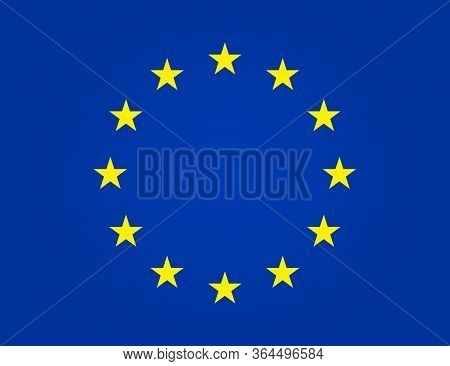 European Flag. Eu Stars In Circle. Euro Union, Europe Parliament. Yellow Stars On Blue Background Is