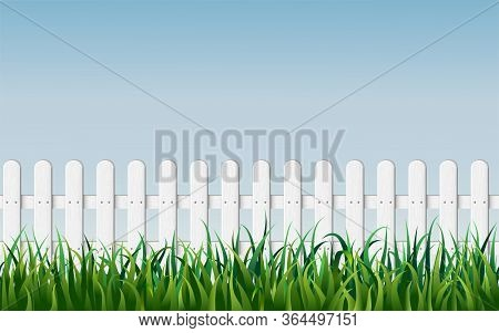Seamless White Fence With Green Grass On Blue Sky Background. Garden Fencing. Summer Backyard. Tradi