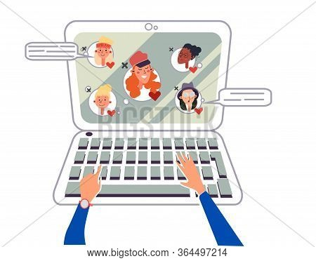 Online Meeting Via Group Call..girl Communicates Collective Virtual Meeting Or Group Video Conferenc
