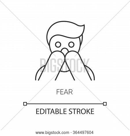 Fear Pixel Perfect Linear Icon. Human Phobia. Panic Attack. Anxiety Disorder. Afraid Of Threat. Thin