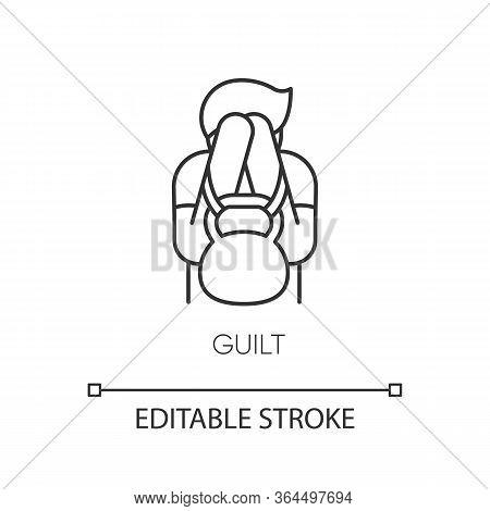 Guilt Pixel Perfect Linear Icon. Mental Health Issue. Obsessive Compulsive Disorder Symptom. Thin Li