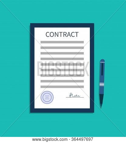 Contract With Signature. Document Of Agreement. Write Sign In Paper Is Consent On Legal Work, Trade,