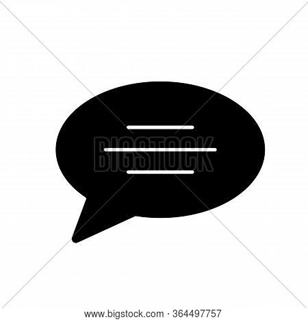 Chat Bubble Black Glyph Icon. Empty Speech Cloud. Blank Dialogue Balloon With Text Space. Comment Bo