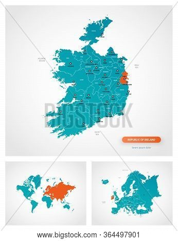 Editable Template Of Map Of Ireland With Marks. Ireland On World Map And On Europe Map.