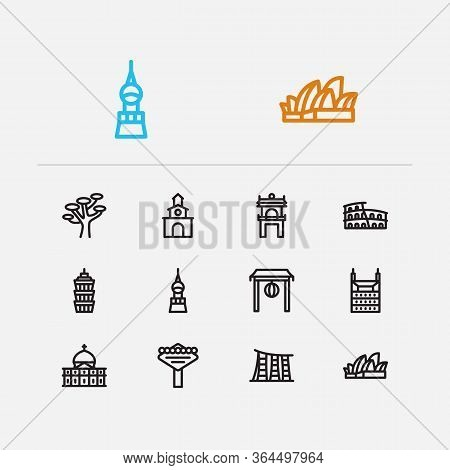 Travel Icons Set: Sydney, Las Vegas, Taiwan And Skyscraper, Building, Colombia Set Popular Traveling