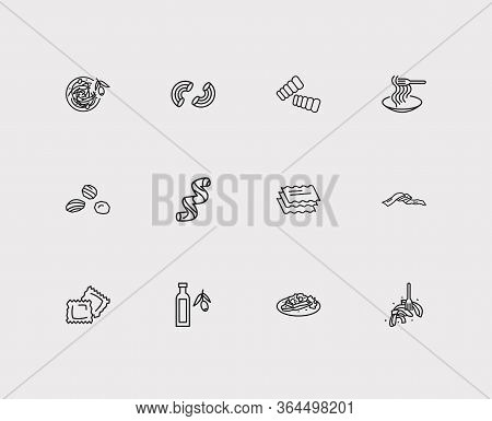 Traditional Meal Icons Set. Macaroni Pasta Shape And Traditional Meal Icons With Fettuccine, Spaghet