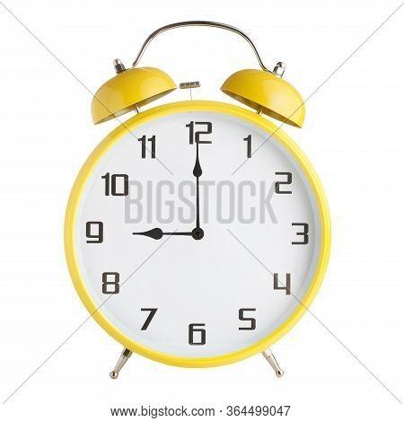 Analog Alarm Clock Showing Nine Oclock, 9pm Or 9 Am Isolated On White Background