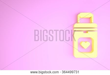 Yellow Cooler Box For Human Organs Transportation Icon Isolated On Pink Background. Organ Transplant