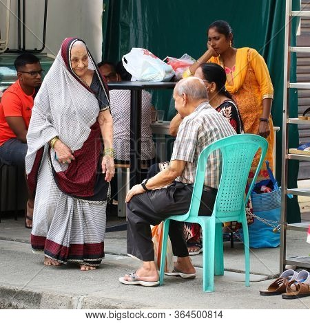 SINGAPORE - DECEMBER 31, 2019: Street scene from Little India district in Singapore.