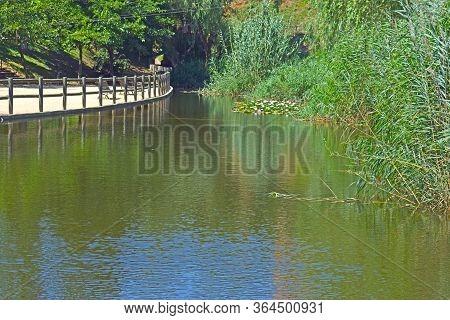 Lake Of The Parc De Vallparadís In Tarrasa Barcelona Spain