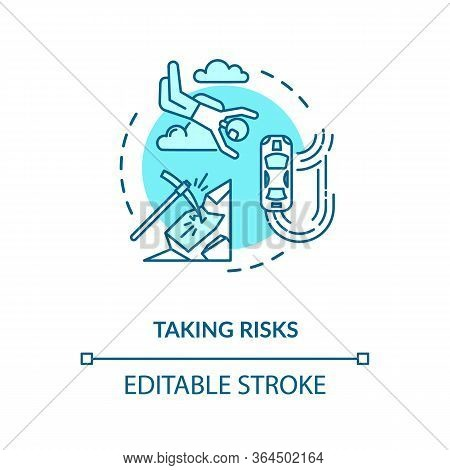 Taking Risks Concept Icon. Extreme Recreational Sport, Personal Growth Idea Thin Line Illustration.