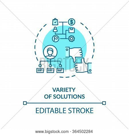 Variety Of Solutions Concept Icon. Creative Thinking, Problem Solving Idea Thin Line Illustration. F