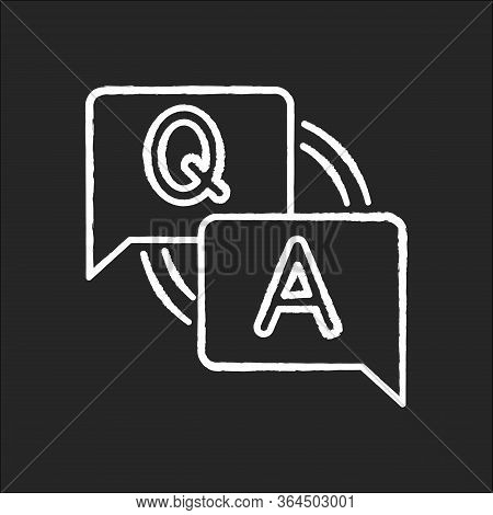 Faq Chalk White Icon On Black Background. Frequently Asked Questions. Customer Support Service. Answ