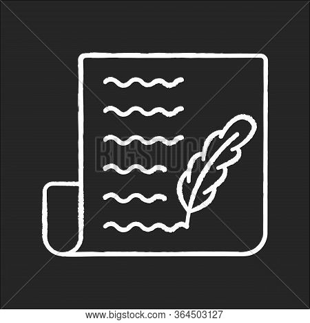 Blog Chalk White Icon On Black Background. Writing Personal Diary. Feather Pen Symbol On Sheet Of Pa