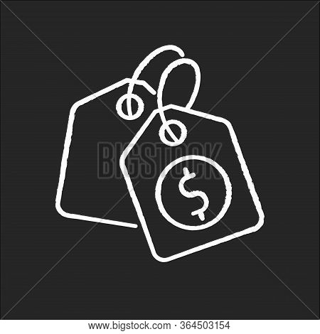 Price Tag Chalk White Icon On Black Background. Label For Purchased Merchandise. E Commerce And Dist