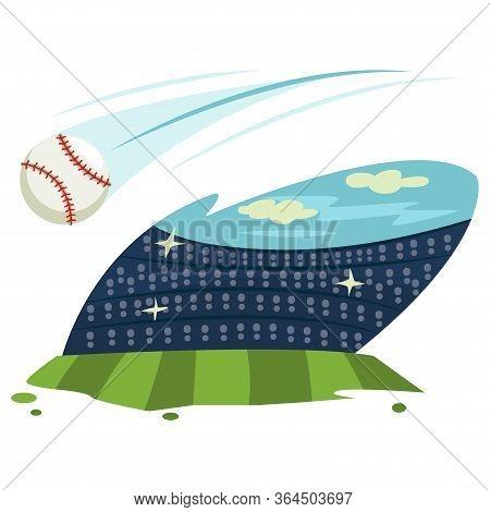 Baseball Stadium, Field And Ball. Vector Cartoon Illustration Isolated On White Background.