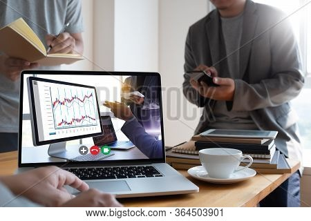 Man Talking Business Plan In Video Conference Online Meeting In Video Call Working From Home Virtual