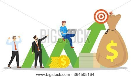 Profit Chart. Profitable Investment. Businessmen Profit On Schedule. Vector Illustration. Vector.