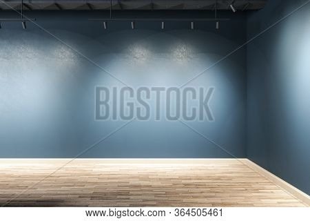 Gallery Interior With Corner, Ceiling Lamp And Copy Space On Blue Wall. Gallery Concept. Mock Up, 3d