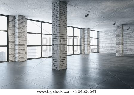 Modern Gallery Interior With Brick Columns And City View. Gallery, Advertisement And Presentation Co