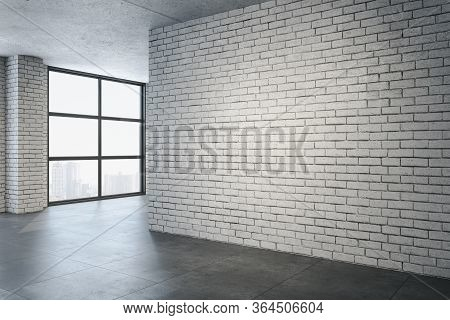 Modern Gallery Interior With Empty Brick Wall And City View. Gallery, Advertisement And Presentation