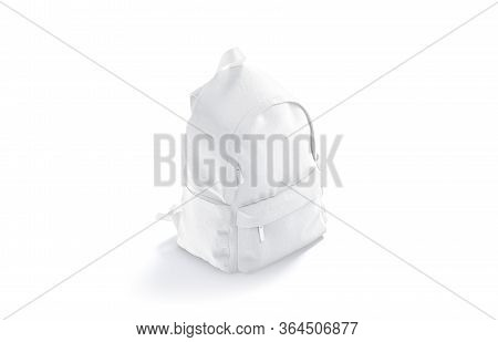 Blank White Closed Backpack With Zipper Mockup, Side View, 3d Rendering. Empty School Knapsack Or Ca