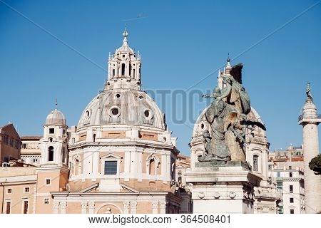View Venice Square From City Landscape Altar Vittorio Emanuele Ii In Rome, Italy