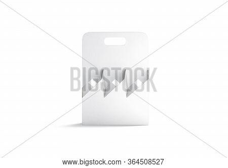 Blank White Cardboard Bottle Holder Mockup, Front View, 3d Rendering. Empty Paperboard Box For Takea