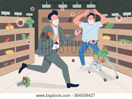 Panicking Store Customers Flat Color Vector Illustration
