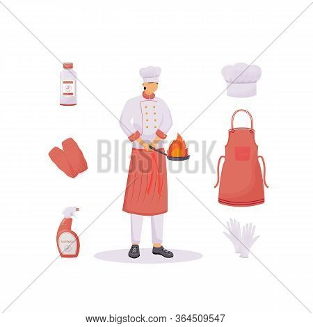 Kitchen Clothes Flat Concept Vector Illustration. Hat And Apron, Sleeve Protectors And Gloves. Cook
