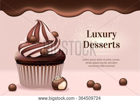 Luxury Desserts Realistic Vector Product Ads Banner Template