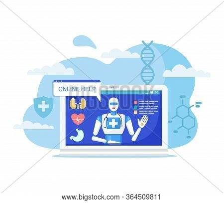 Online Medicine Concept Vector Illustration. Cartoon Flat Robot Character On Computer Screen Advisin