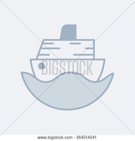 Vector Modern Soft Icon Of An Ocean Cruise Ship In The Water. It Represents A Concept Of Travelling,