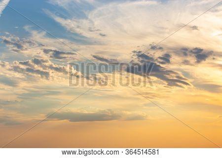 Sunset Sky, Natural Dusk Effect. Orange Sky With Blue Background. Twilight Evening Weather Nature, B