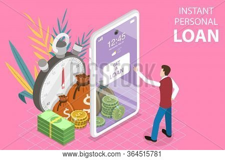 3d Isometric Flat Vector Concept Of Instant Personal Loan, Quick And Easy Cash.