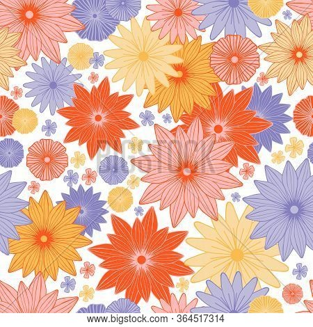 Blooming Summer Meadow Seamless Pattern. Plant Background Of Pink, Red, Yellow And Purple Flowers. A