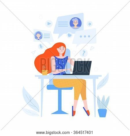 Woman At Home Is Sitting At Laptop And Spending Time Online Video Chat With Friends. Online Communic