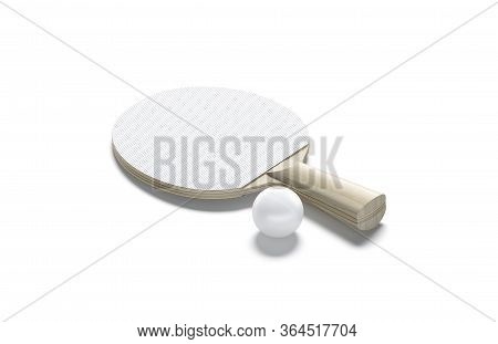 Blank White Wood Table Tennis Racket With Ball Mock Up, 3d Rendering. Empty Sports Bat And Bal For P