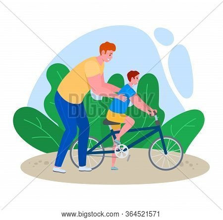 Father Time With Son Vector Illustration. Cartoon Flat Dad Character Teaching Kid Boy To Ride Bicycl
